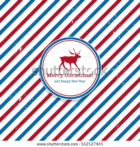 Christmas Santa post red and blue deer mail background - stock vector