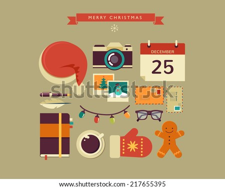 Christmas Santa's desktop design with elements in minimalistic hipster style - stock vector