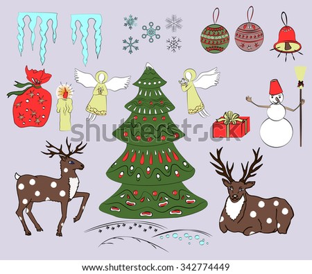 Christmas sat with decorated xmas tree, deers, snowman, present box, angels, xmas tree balls, ball, snowflakes, and icicles. Colorful design.
