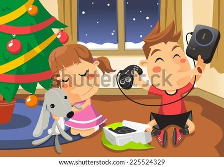 Christmas scene of children opening presents vector cartoon illustration - stock vector