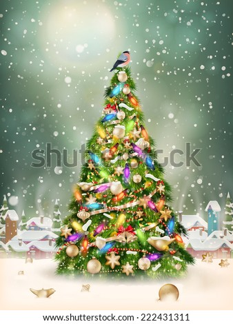 Christmas scene, snowfall covered little village with tree. EPS 10 vector file included