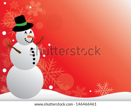 Christmas scene with a happy snowman with a red background and snowflakes.