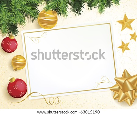 Christmas scene with evergreen branch, red and gold ornaments, ribbon, and star decorations. Background highly detailed with pattern and glitter. - stock vector