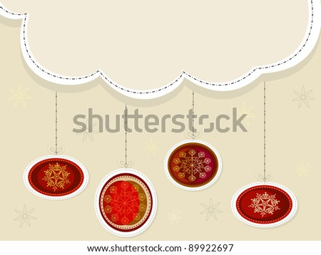 Christmas scene with hanging ornamental Christmas balls and snowflakes for Christmas & other occasions. - stock vector