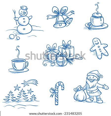 Christmas scenes and icons set with snowman, bells, gifts, trees, santa, tea, hand drawn doodle sketch - stock vector