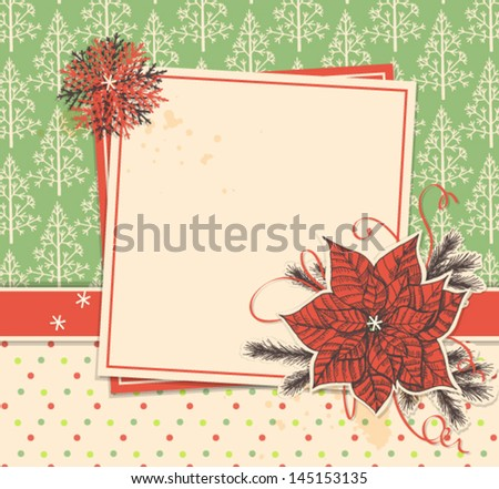 Christmas scrapbook background with cards and paper poinsettia