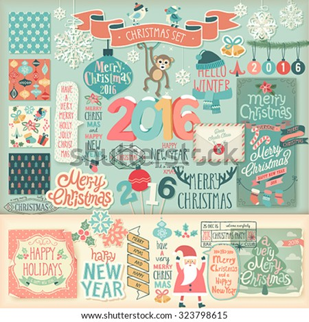 Christmas scrapbook set - decorative elements. Vector illustration. - stock vector
