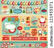 Christmas Scrapbook set - ribbons, emblems and other decorative elements. - stock vector