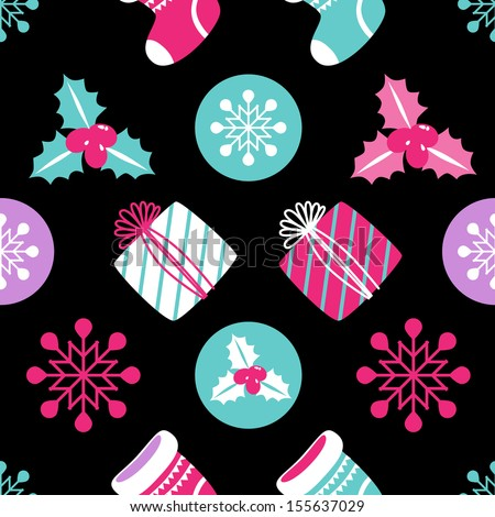 Christmas Seamless background. Holiday pattern for your design. Gift, Snowflake, Ostrolist, Christmas sock - stock vector