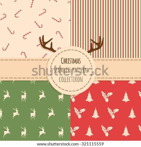 Christmas Seamless background vector set  - stock vector