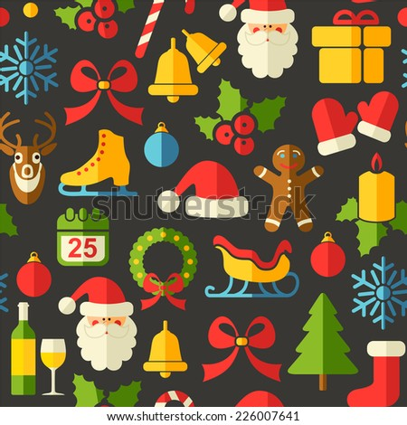 Christmas Seamless background with flat icons - stock vector