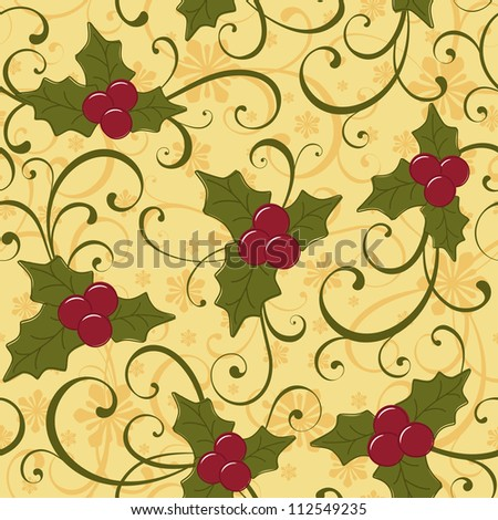 Christmas seamless background with holly berry - stock vector