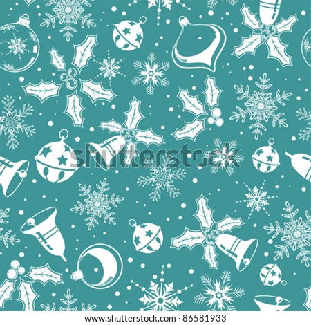 Christmas seamless background with snowflake, mistletoe, bell, element for design, vector illustration