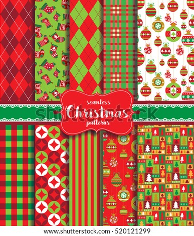 Christmas seamless background with traditional holiday symbols