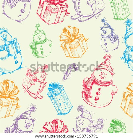 christmas seamless colorful sketch doodles pattern