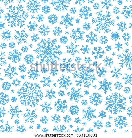 Christmas seamless doodle pattern with snowflakes, vector background - stock vector