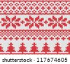 Christmas seamless knitted background. EPS 8 vector illustration. - stock vector