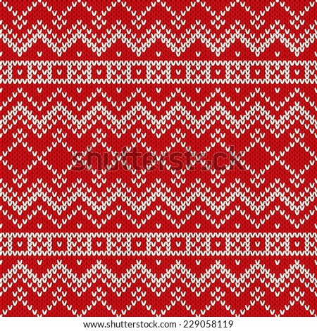 Christmas Seamless Knitting Pattern - stock vector