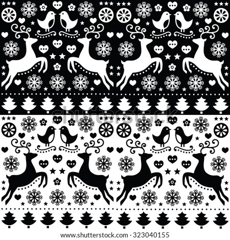 Christmas seamless monochrome pattern with reindeer - folk style   - stock vector