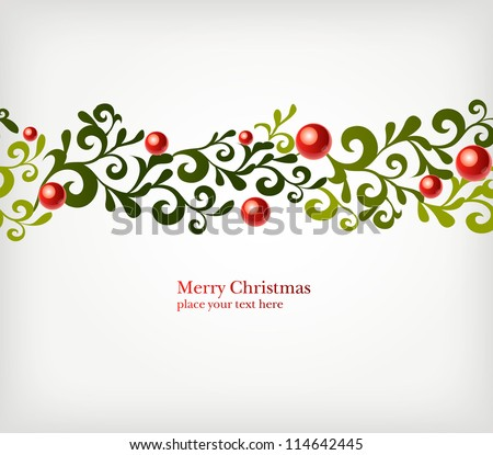 Christmas seamless ornament with curls and balls - stock vector