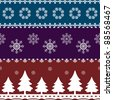 Christmas seamless pattern and borders - stock vector