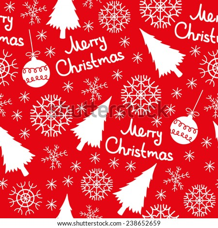 Christmas seamless pattern elements, tree, snowflakes, Christmas ball on a red background - stock vector