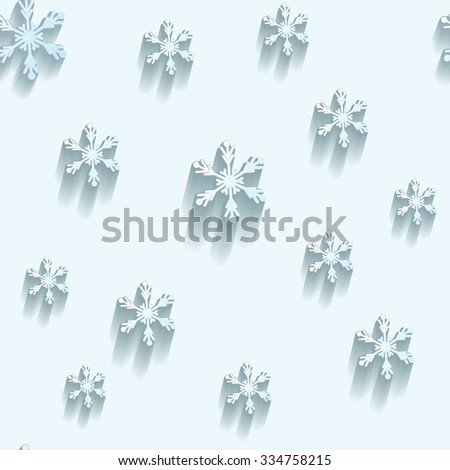 Christmas seamless pattern.  Flat snowflakes with shadows on light blue background