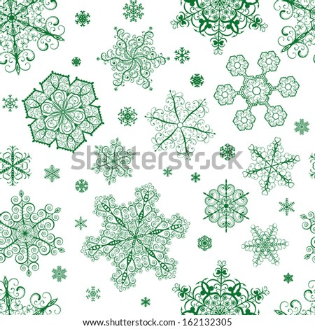Christmas seamless pattern from big and small green snowflakes on white background - stock vector