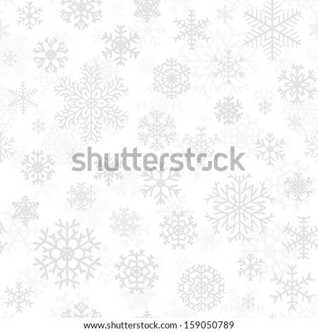 Christmas seamless pattern from gray snowflakes on white background - stock vector