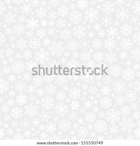 Christmas seamless pattern from white snowflakes on gray background - stock vector