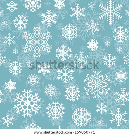 Christmas seamless pattern from white snowflakes on turquoise background - stock vector