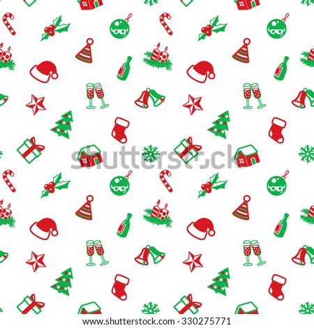 Christmas seamless pattern in red and green colors - stock vector