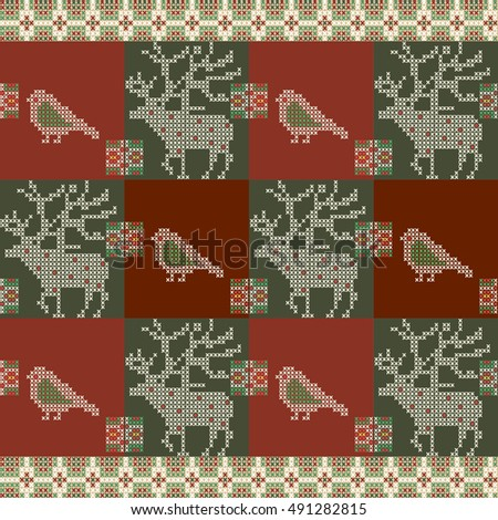 Christmas seamless pattern in tapestry style