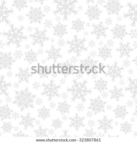 Christmas seamless pattern of big and small snowflakes, gray on white - stock vector