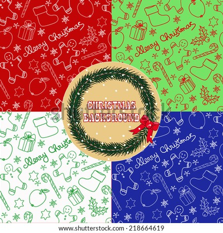 Christmas seamless pattern set. Hand drawn vector illustration.