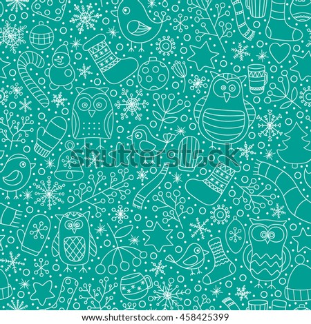 Christmas seamless pattern. Vector hand drawn outline winter elements. Fun doodle background for kids. Snowflake, owl, christmas tree, mittens, socks. On green background. - stock vector