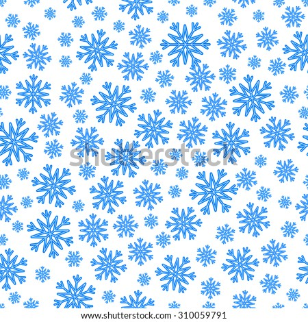 Christmas seamless pattern with blue snowflakes over white. - stock vector