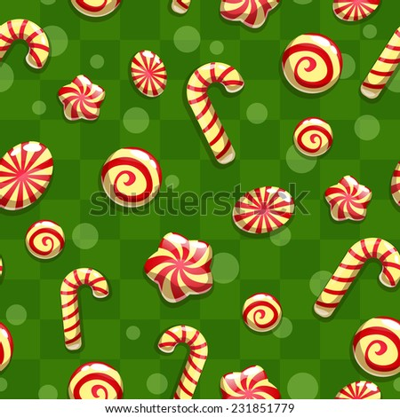 Christmas seamless pattern with candies - stock vector