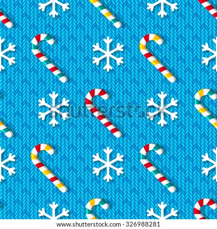 Christmas seamless pattern with candy and snowflakes on blue knitted background - stock vector
