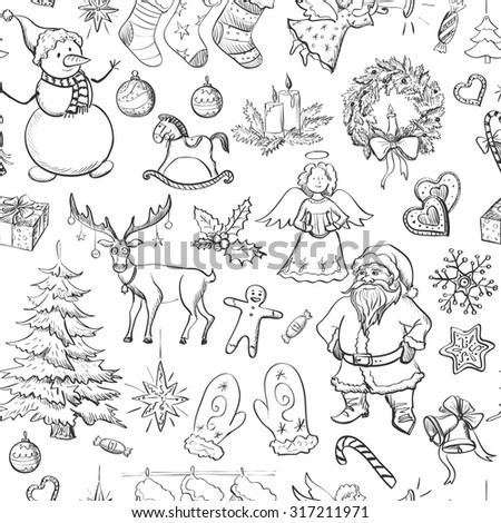 Christmas seamless pattern with  Christmas mittens, candy cane, holly berries, smiling snowman, stocking with xmas tree, Deer,  Santa, angel, candle, christmas toys, gifts and bells. - stock vector
