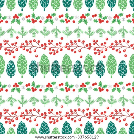 Christmas seamless pattern with cones, fir branches, poinsettia and berries. Collection of holiday borders. Perfect for wallpaper, pattern fills, gift paper, Christmas and New Year greetings cards. - stock vector
