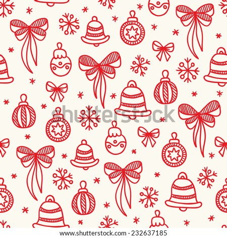Christmas seamless pattern with decorations. Balls, bows, snowflakes, bells. Hand drawn vector illustration. Perfect for wallpapers, pattern fills, web page backgrounds, surface textures, textile