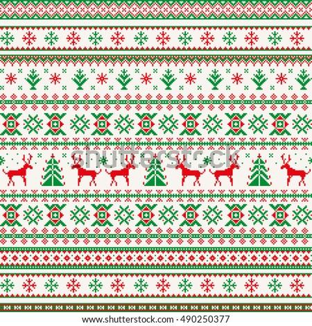 christmas seamless pattern deer snowflake tree stock