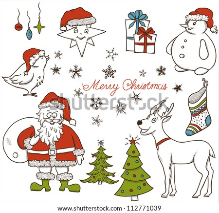 Christmas seamless pattern with deer, snowman, snowflakes, etc. Hand drawn