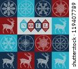 Christmas  seamless pattern with deers and snowflakes - stock photo