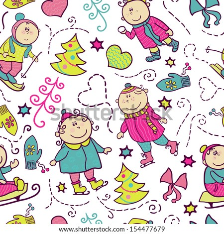 Christmas seamless pattern with doodle funny children, winter recreation