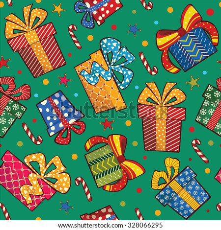 Christmas seamless pattern with gift boxes. Seamless pattern can be used for wallpapers, web page backgrounds.