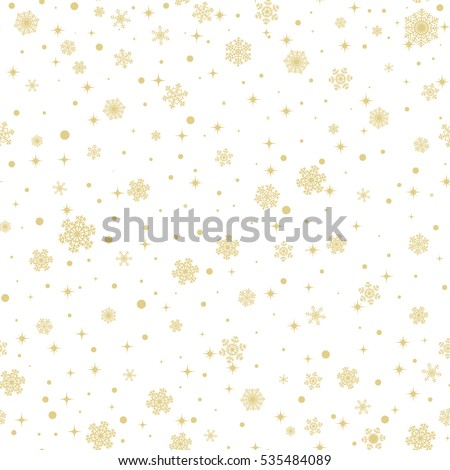 Christmas seamless pattern with golden snowflakes on white background