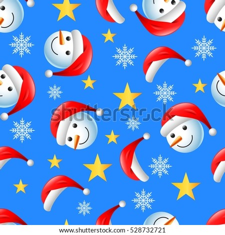 Christmas seamless pattern with happy snowman and flakes on blue background. vector illustration