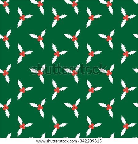 Christmas seamless pattern with holly berry. Vector background - stock vector
